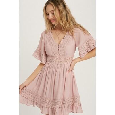 V-Neck Lace Trim Dress - Dusty Pink