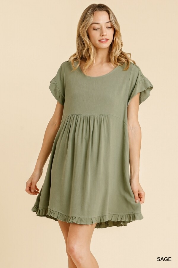 Sage Babydoll Dress w/ Crochet Trimmed Detail
