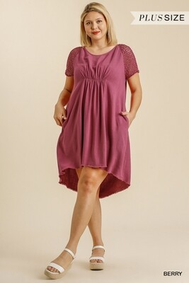 Crochet Detail Short Sleeve Round Neck Dress