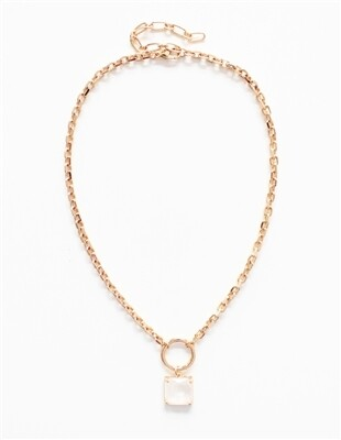 Matte Gold Chain W CZ Crystal Drop 18''