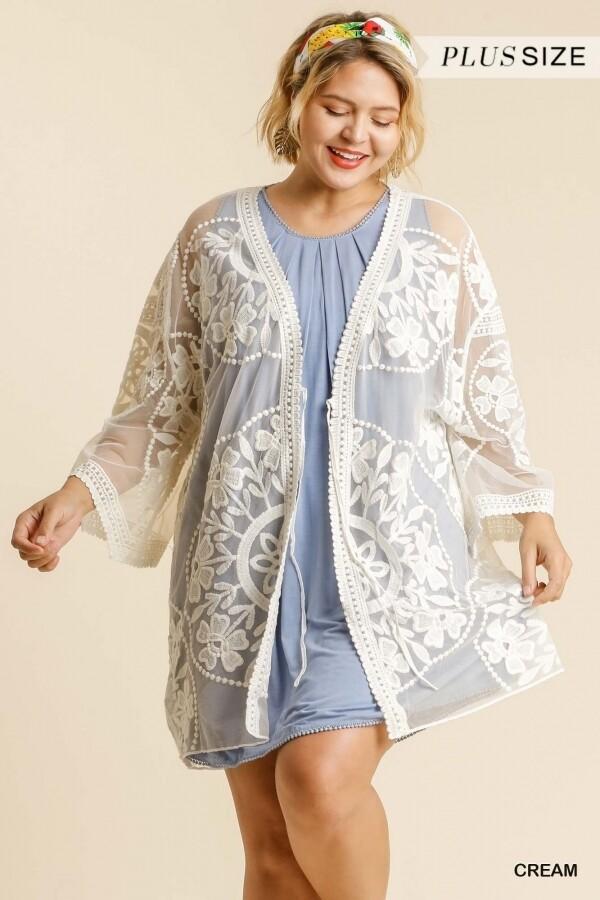Floral Lace Kimono w/ Waist Tie