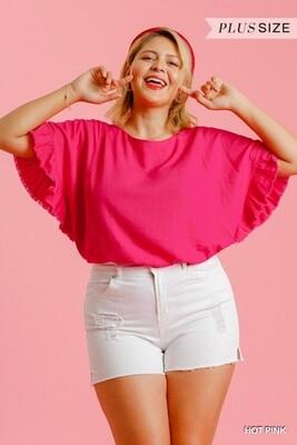 Hot Pink Short Ruffle Sleeve Round Neck Top