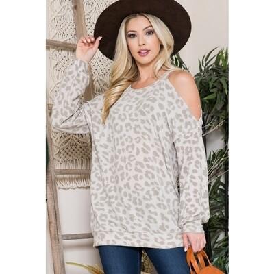 Beige Cold Shoulder Cheetah