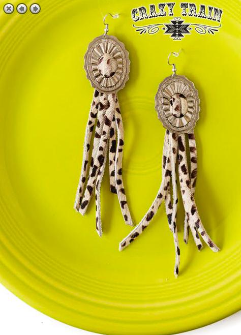 Concho Queen Earrings Cowhide