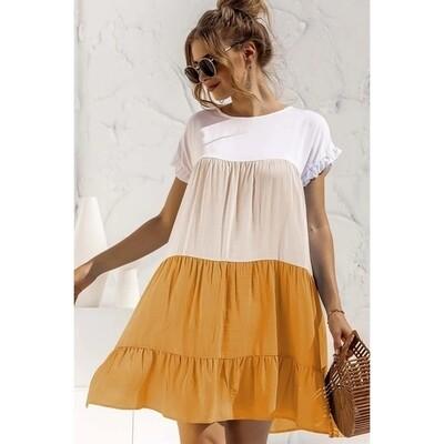 Women Tier Mini Dress Yellow