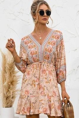 Floral Mini Dress - Buff