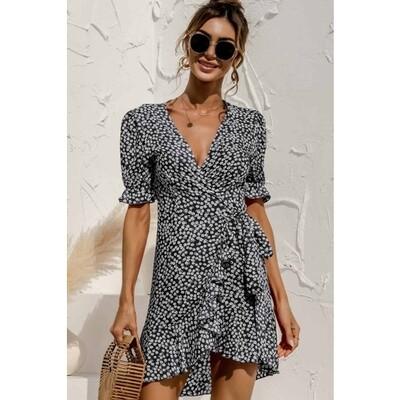 Floral Print Mini Dress - Black