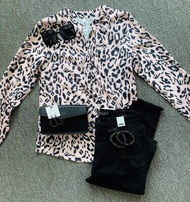Leopard Print Button Up Top
