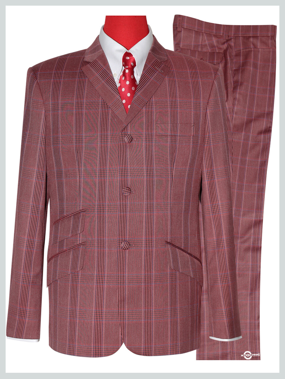 Mod Suit | Burnt Red Prince OF Wales Check Suit