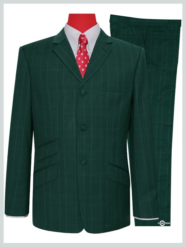 Mod Suit | Olive Green Color Check Suit For Man