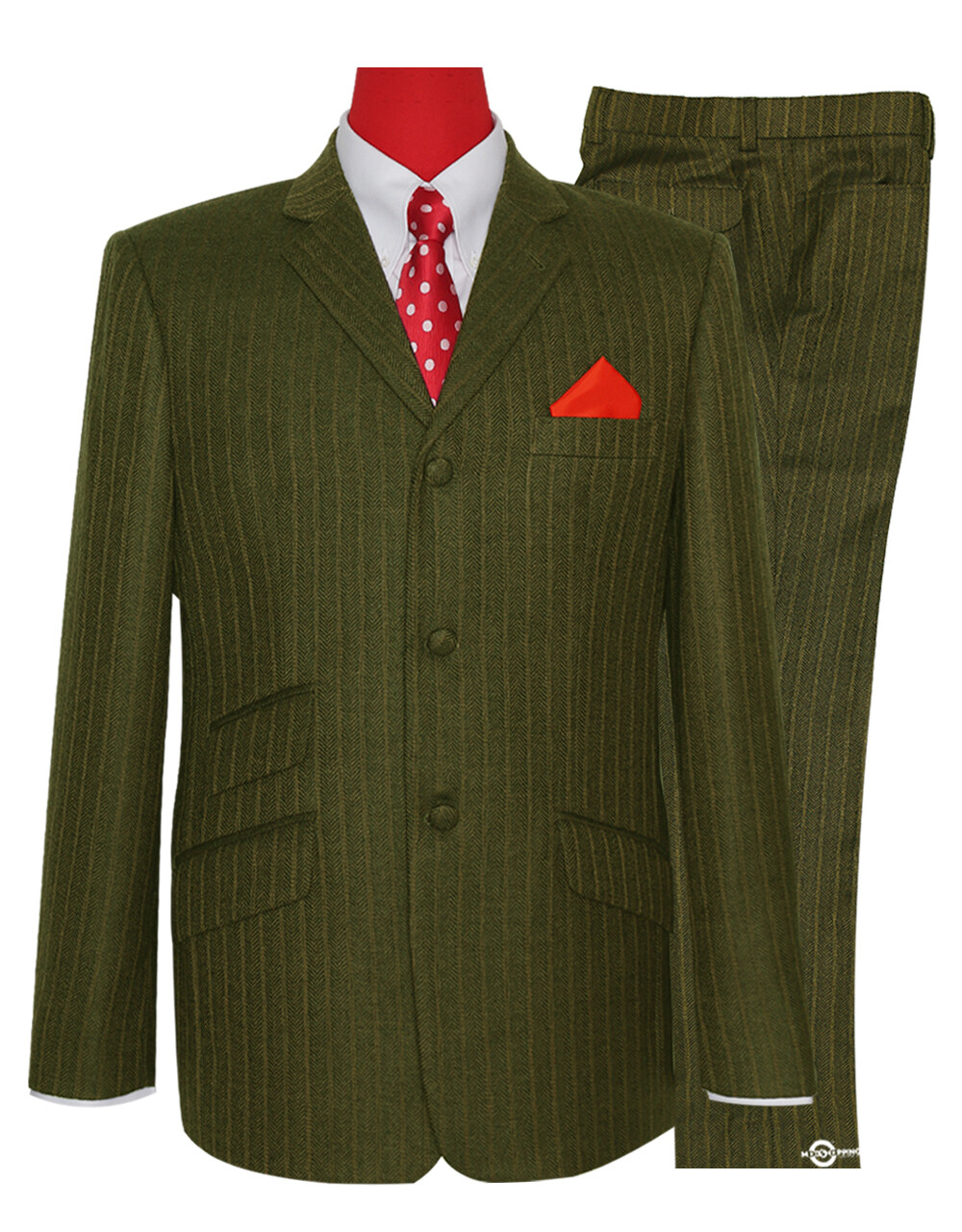 Mod Tweed Suit | Tobacco Colour Herring Bone Suit