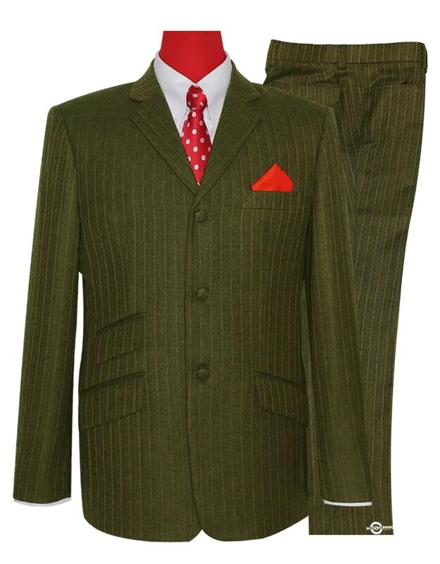 Mod Tweed Suit   Tobacco Colour Herring Bone Suit
