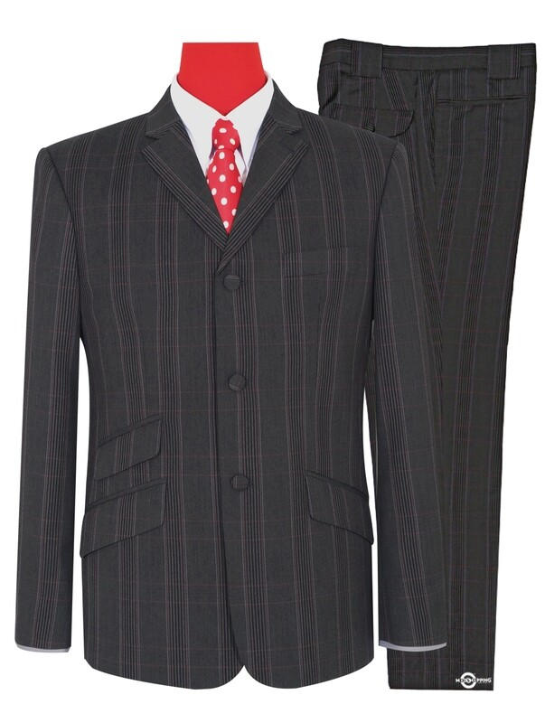 Mod Suit | Charcoal Grey Prince of Wales Check Suit