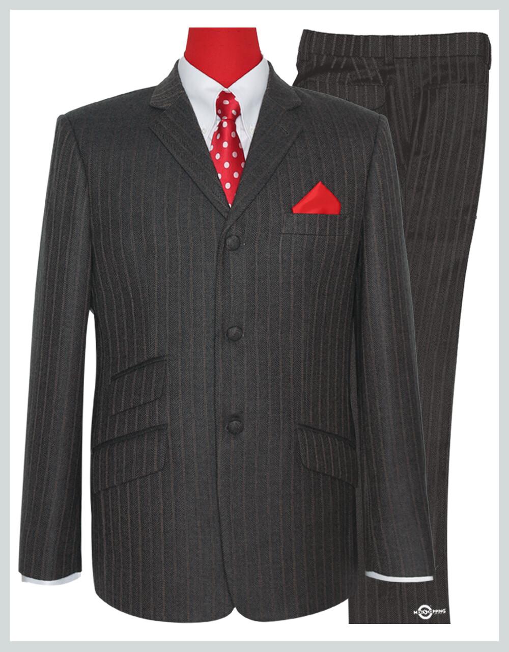 Mod Tweed Suit | Brown Grey Color Herring Bone Suit