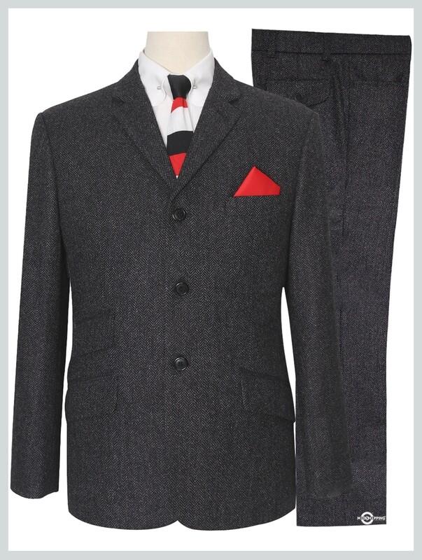 Mod Tweed Suit   Charcoal Grey 3 Button Suit