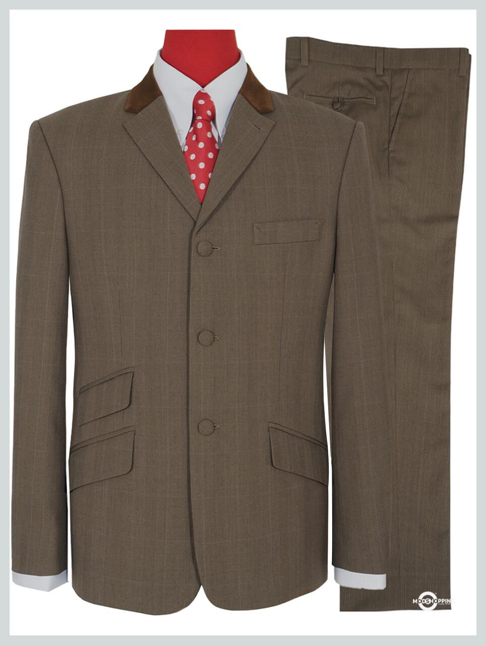 Brown & Grey Contrast Pow Check Suit