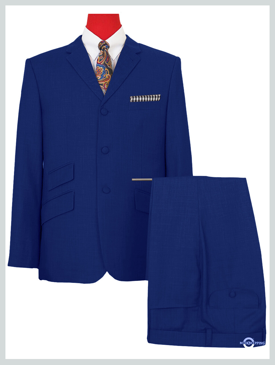 Mod Suit | Royal Blue Plain Color 3 Button Suit