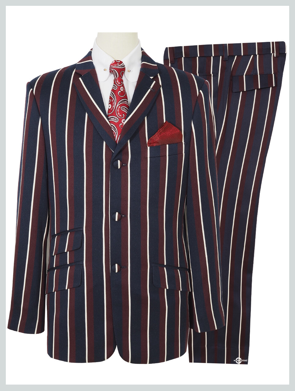 Classic Navy Blue And Burgundy Stripe  Suit.