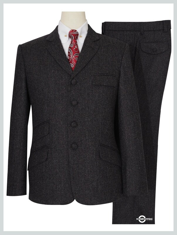 Tweed Suit Charcoal Grey 4 Button Suit