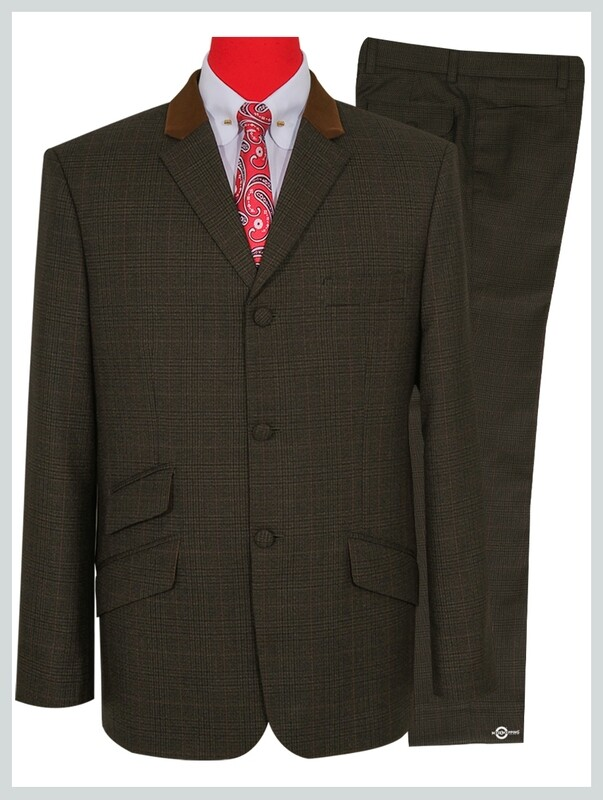 Dark Brown Prince Of Wale Check Suit