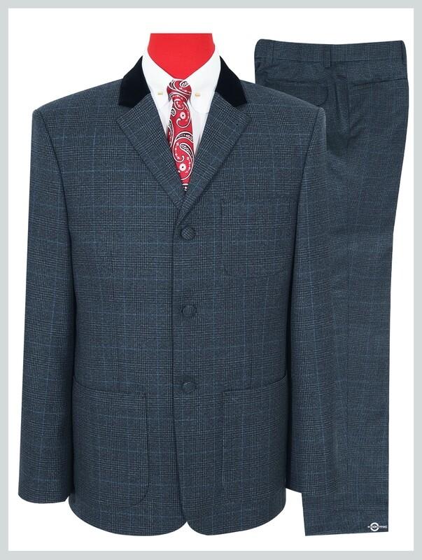 Charcoal Grey Tweed Pow Check Suit.