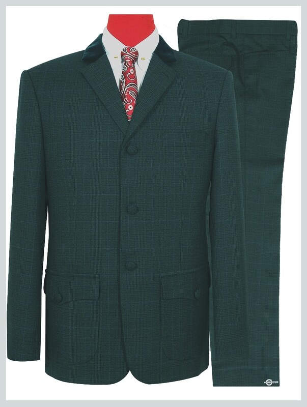 Olive Green Prince Of Wales Check Patch Pocket Suit