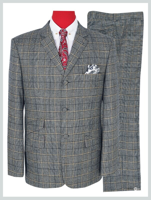 Prince Of Wales Check Grey Suit