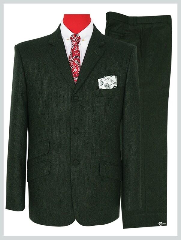 Mod Tweed Suit   Olive Green Herringbone Mod Suit