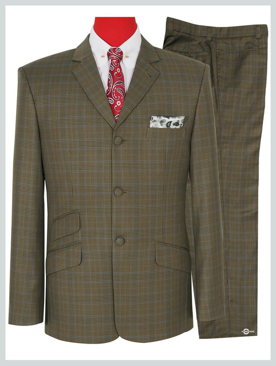 Dark Khaki Prince Of Wales Check Suit