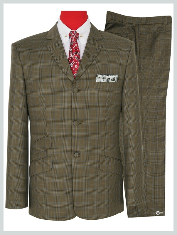 Dark Khaki Prince Of Wales Check Suit