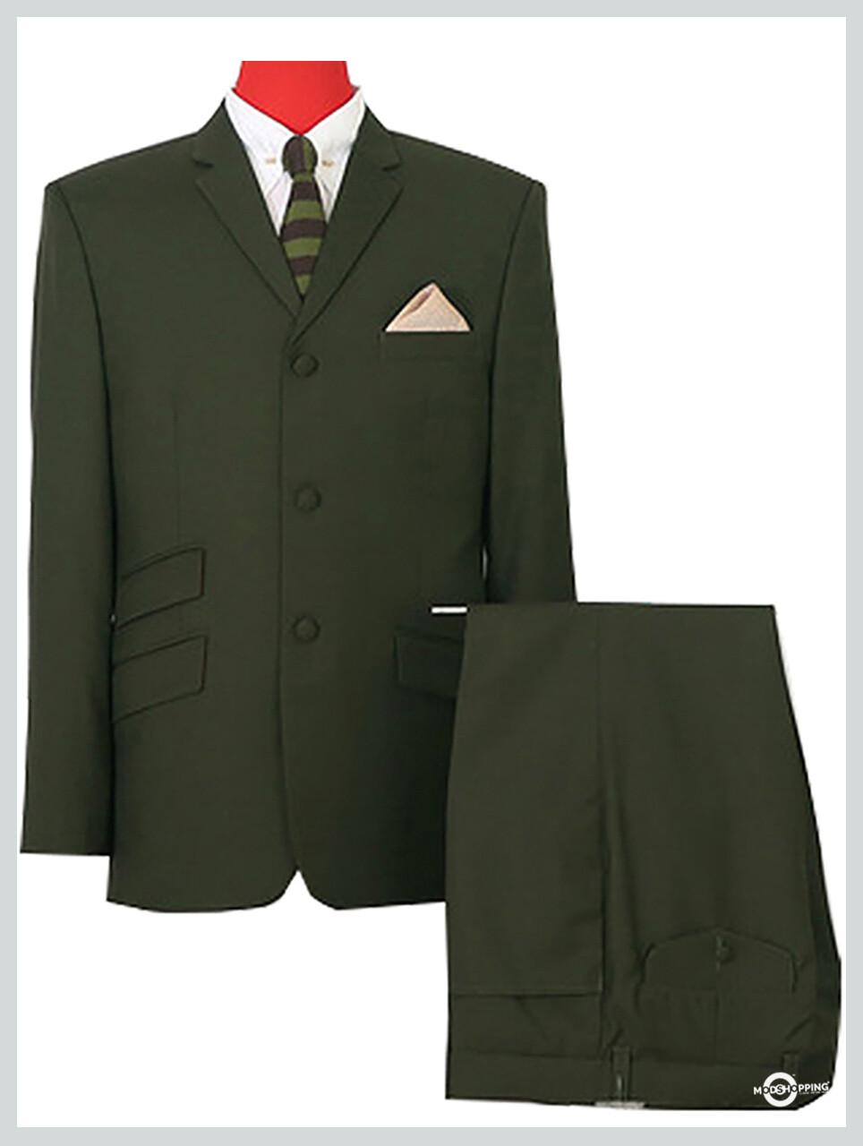 Vintage Olive Green Mohair Mod Suit.