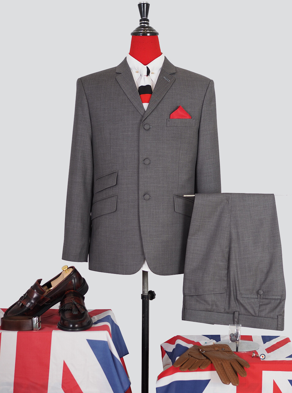 Pale Grey 60s Mod Style Tailored  Vintage Suit