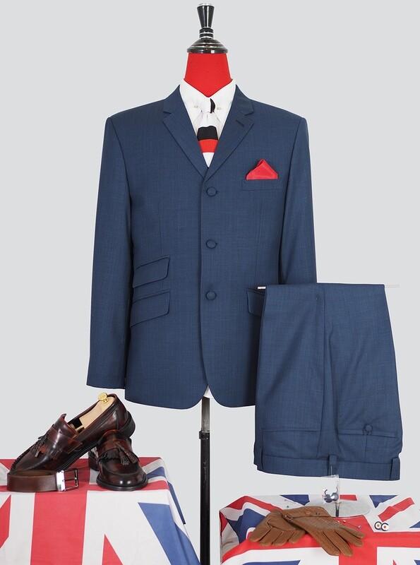 Pale Navy Blue 60s Mod Style Vintage  Suit