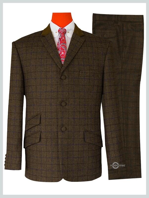 Coffee Windowpane Check  Stunning Shadow Tweed Suit.