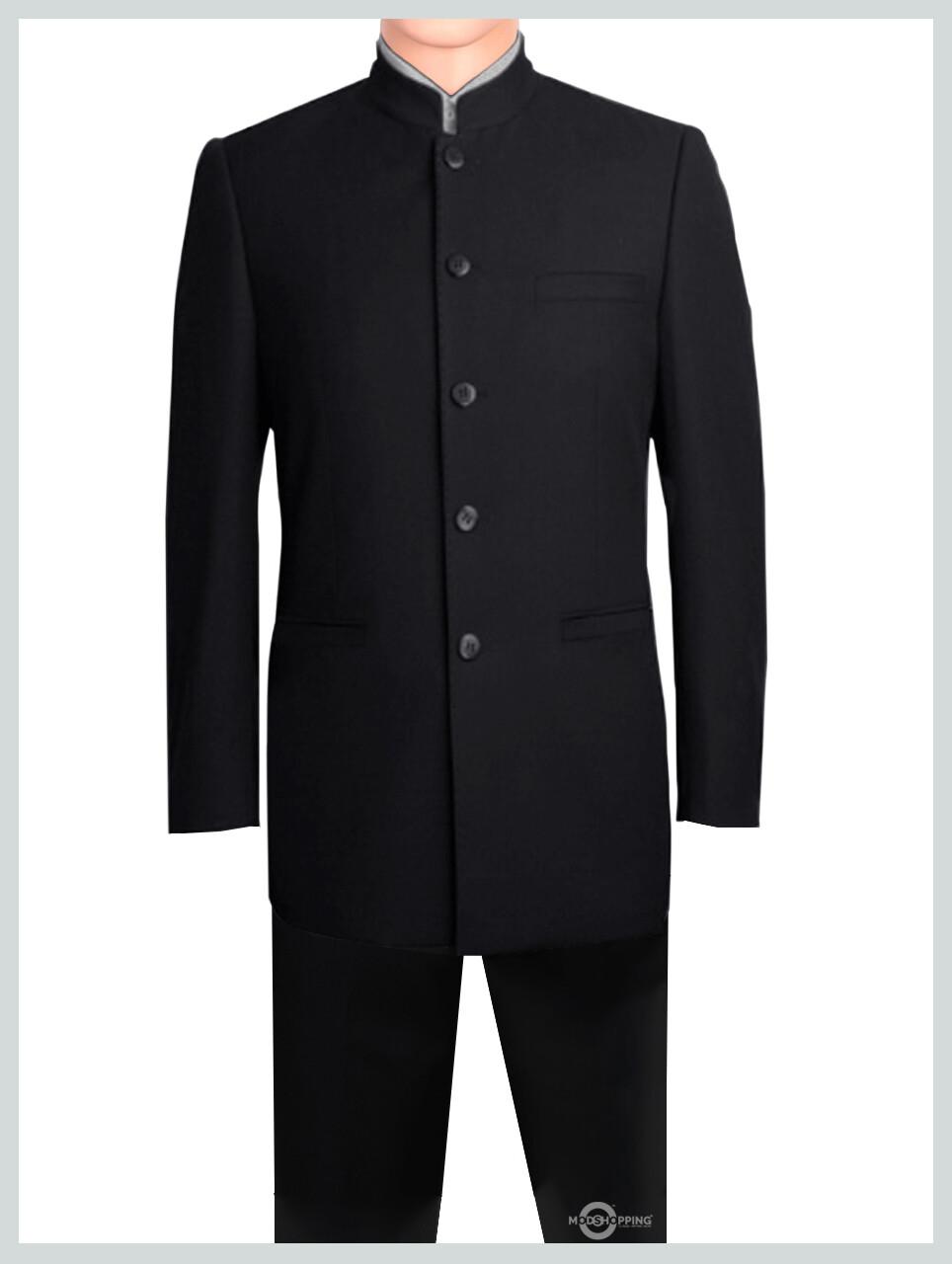 Nehru Collar Black Suit Tailored Mod Suit 5 Button.