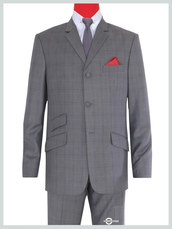 GREY PRINCE OF WALES MOHAIR 3 BUTTON MOD SUIT UK