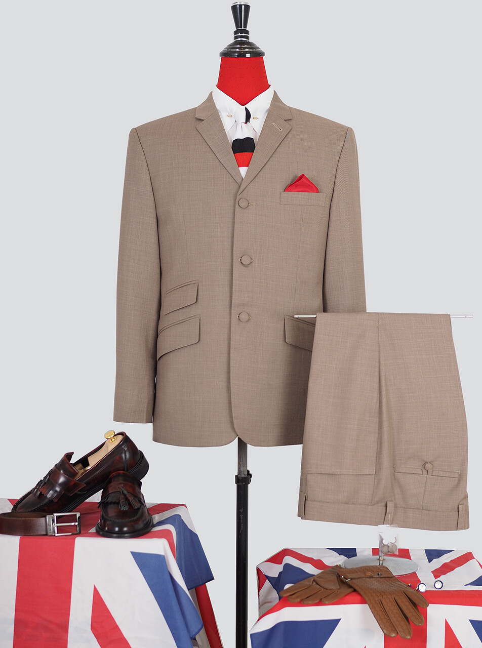 Pale Brown 60s Mod Style Tailored Vintage Suit