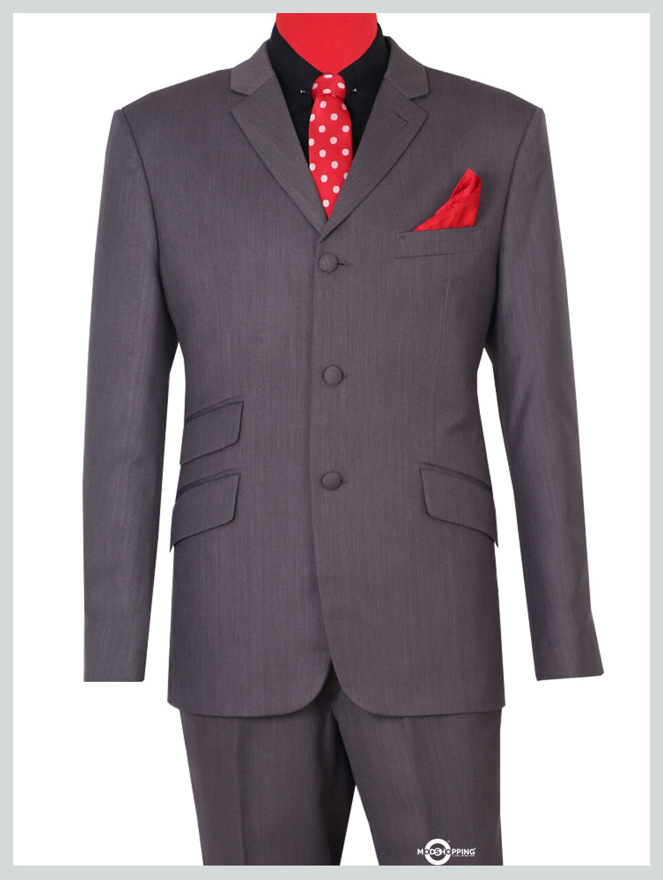 Grey Herringbone Classic Essential Suit