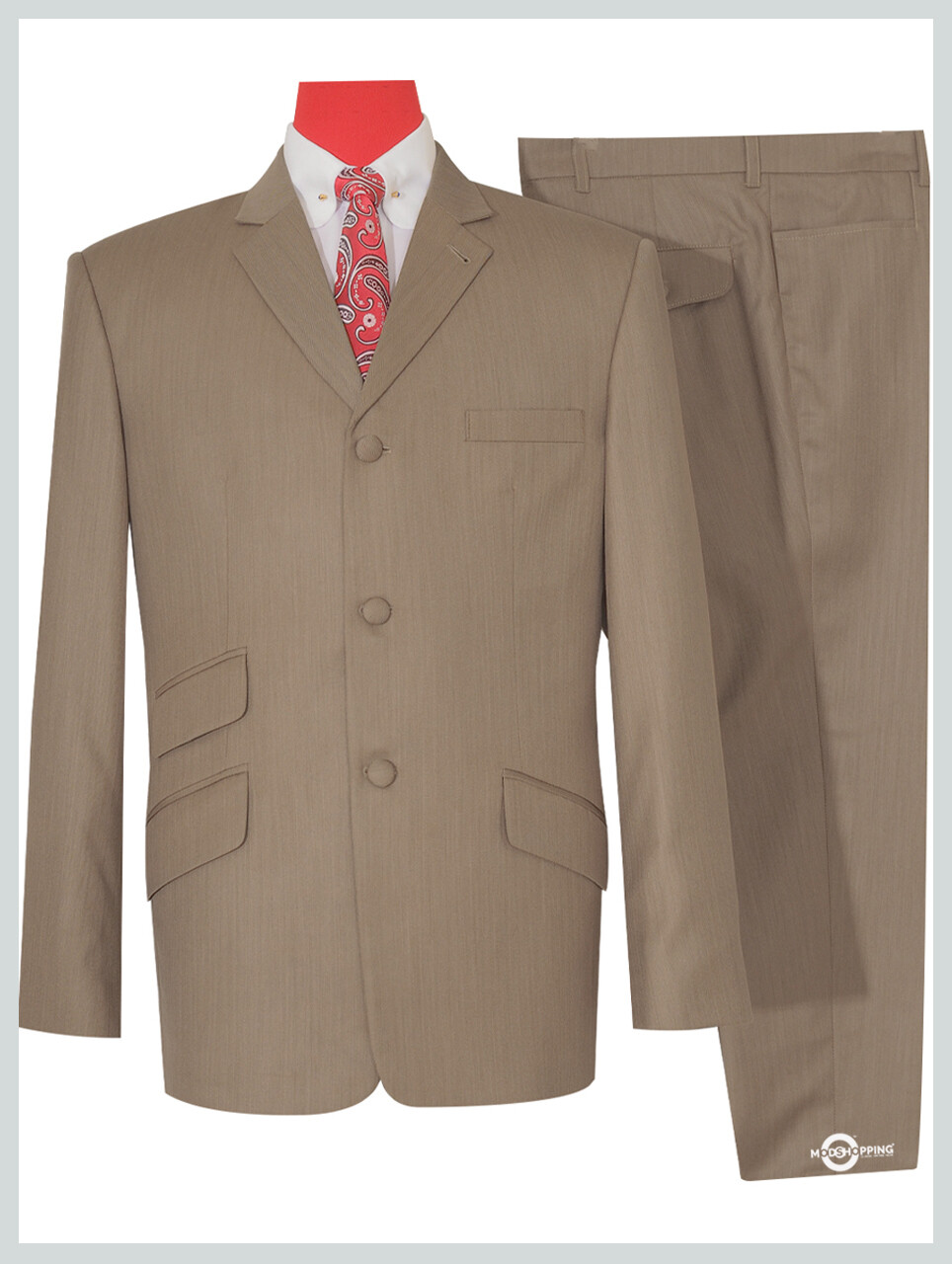 Herringbone Tailored Retro Light Brown Mod Suit