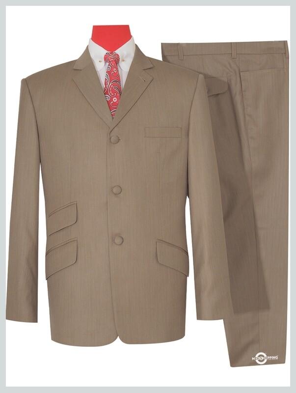 Herringbone Tailored Retro Light Brown Mod Suit
