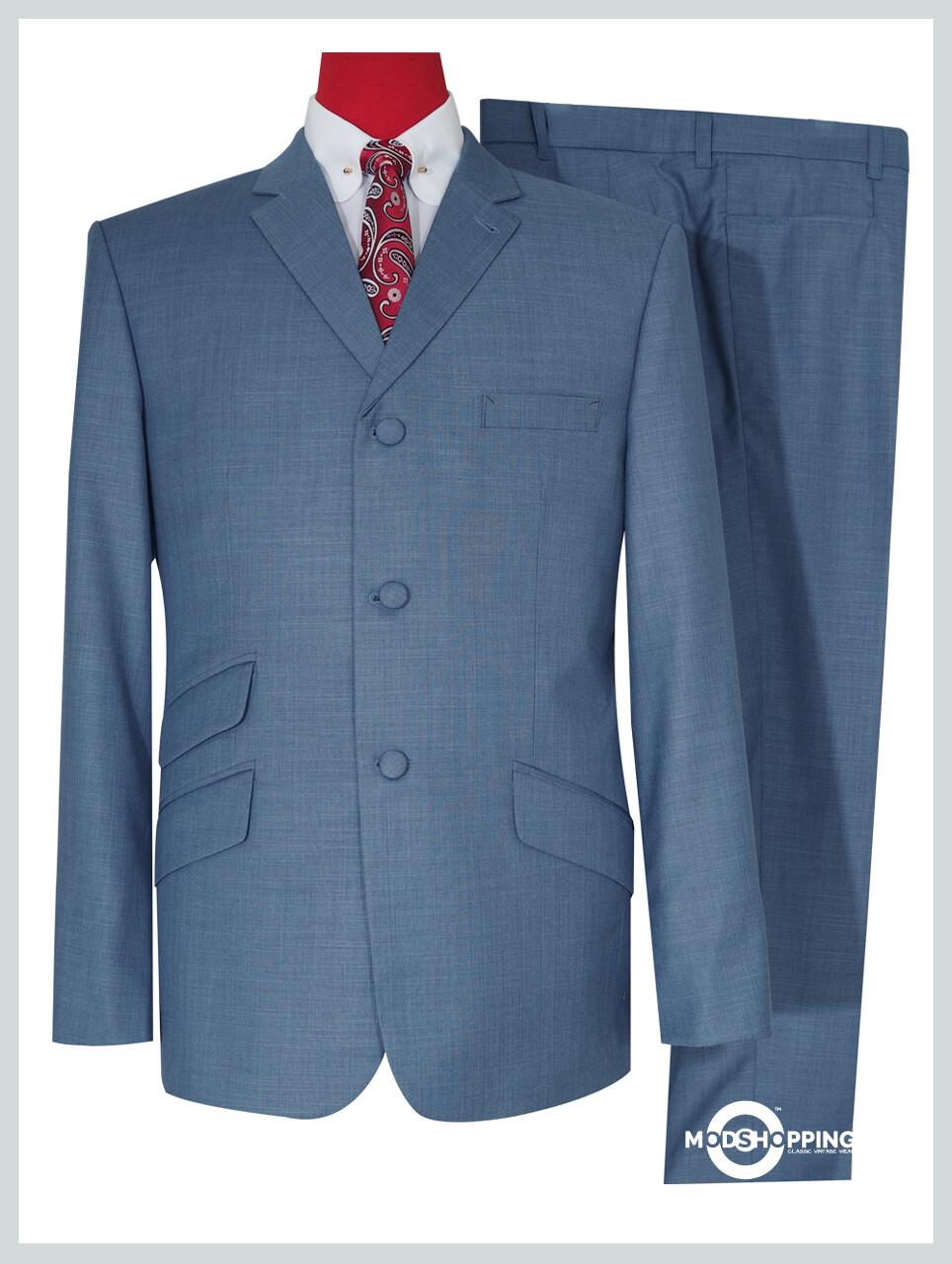 Pale Blue 60s Mod Style Tailored Vintage Suit