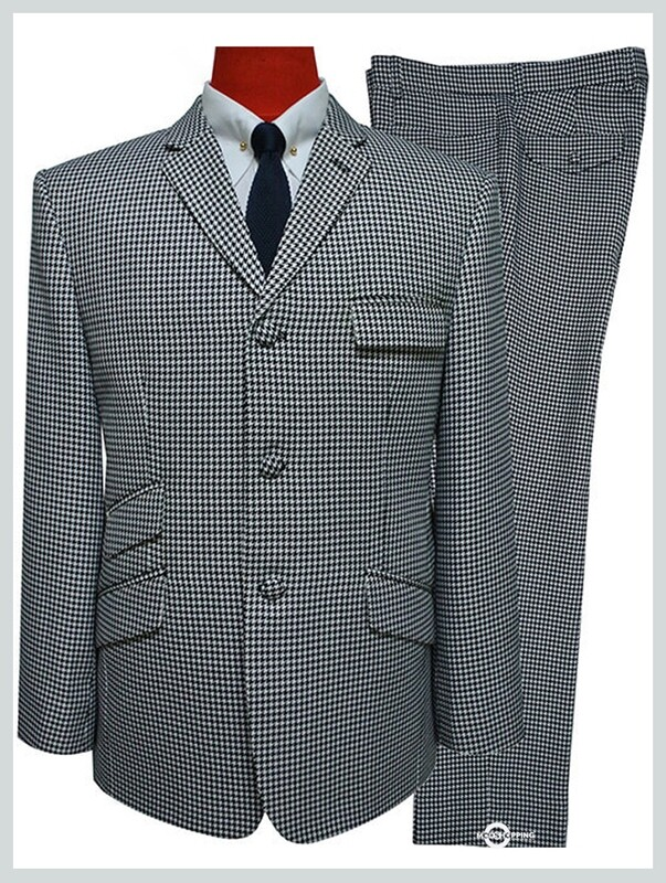mod suit | black & white houndstooth tailored suit
