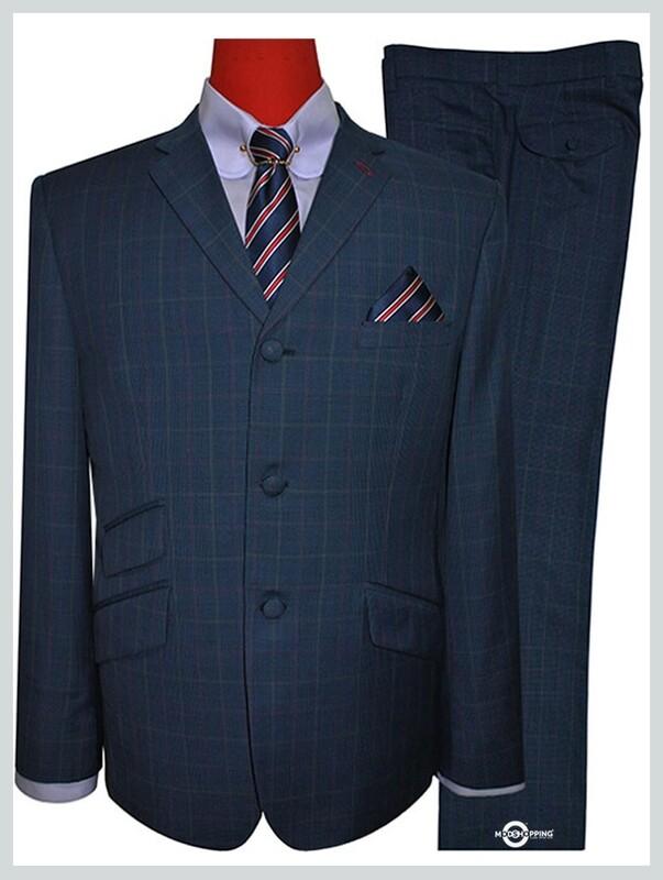 60s fashion men tailored pow check navy blue mod suit