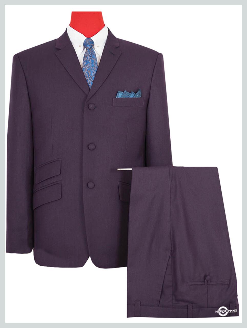 Vintage Style Retro Purple 3 Button Mod Suit
