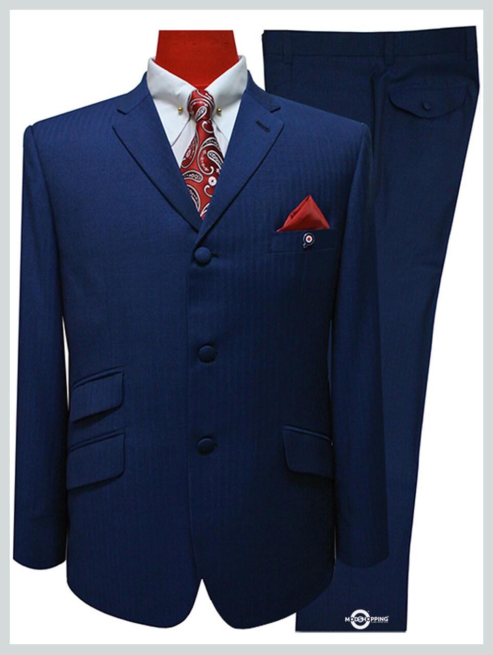 herringbone suit sapphire blue tailored mod suit for men