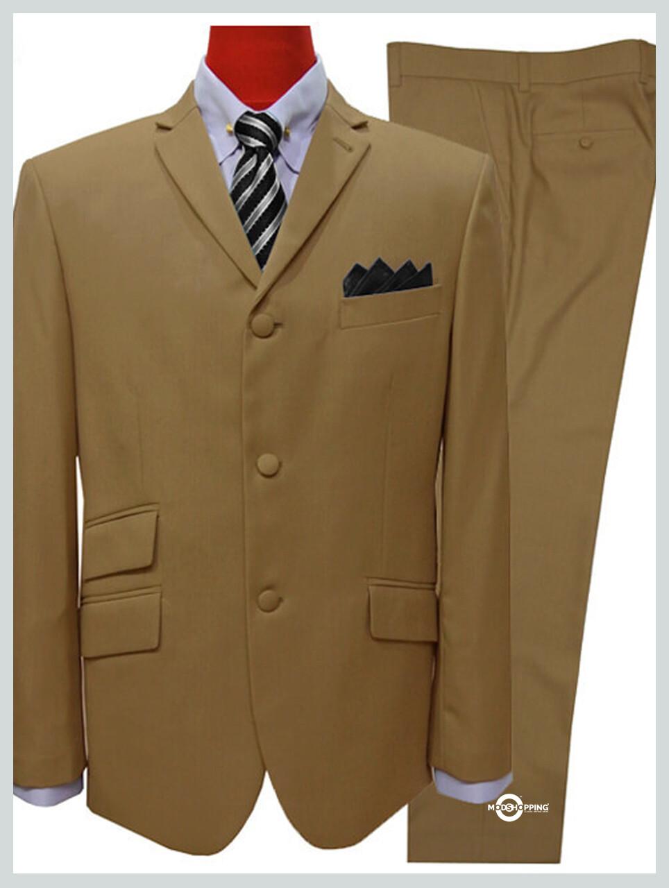 Khaki Suit|Mod Style 3 Button Khaki Suit Men