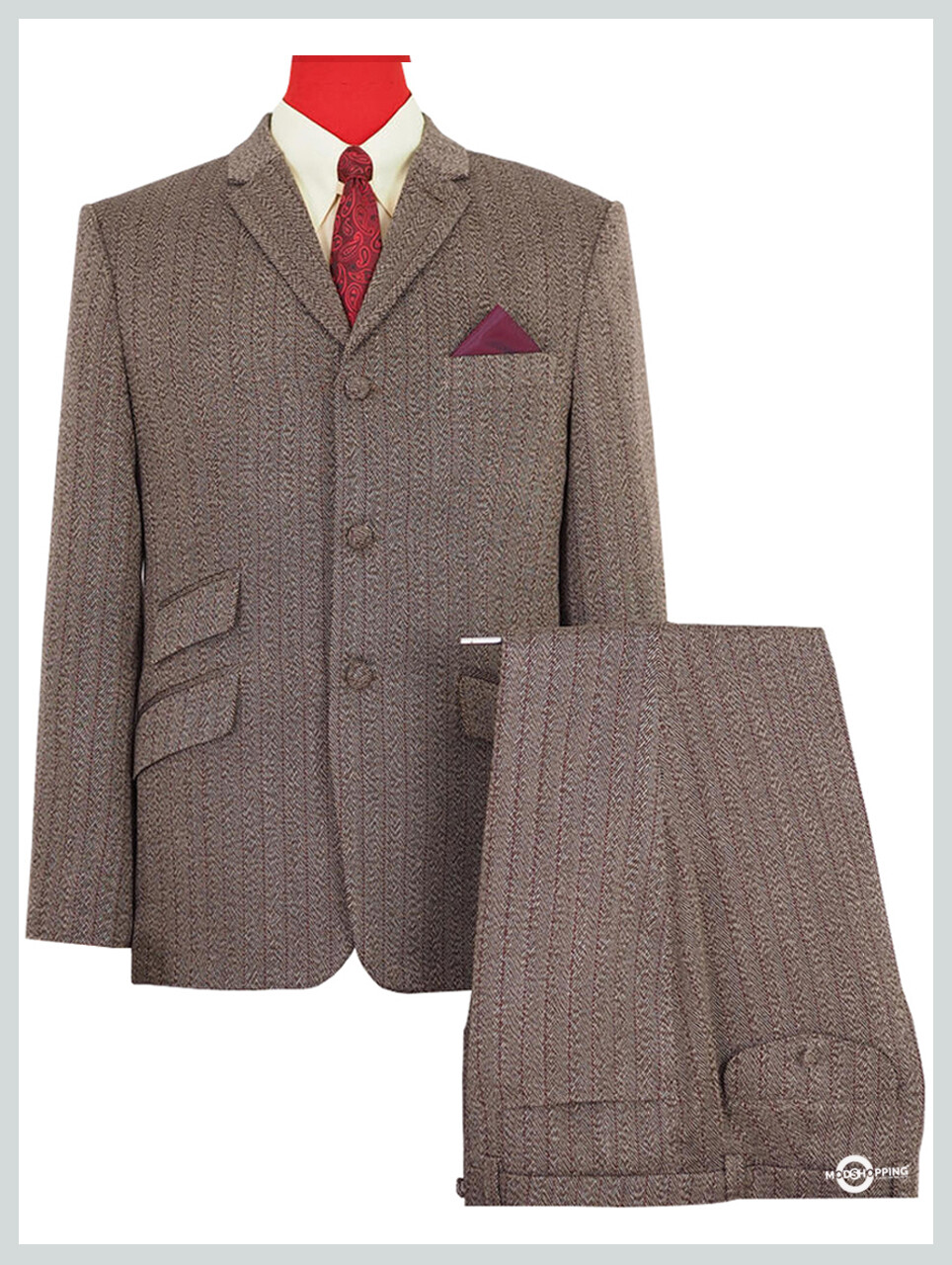 Tweed Herringbone Pinstripe Brown Tailored 60s Suit