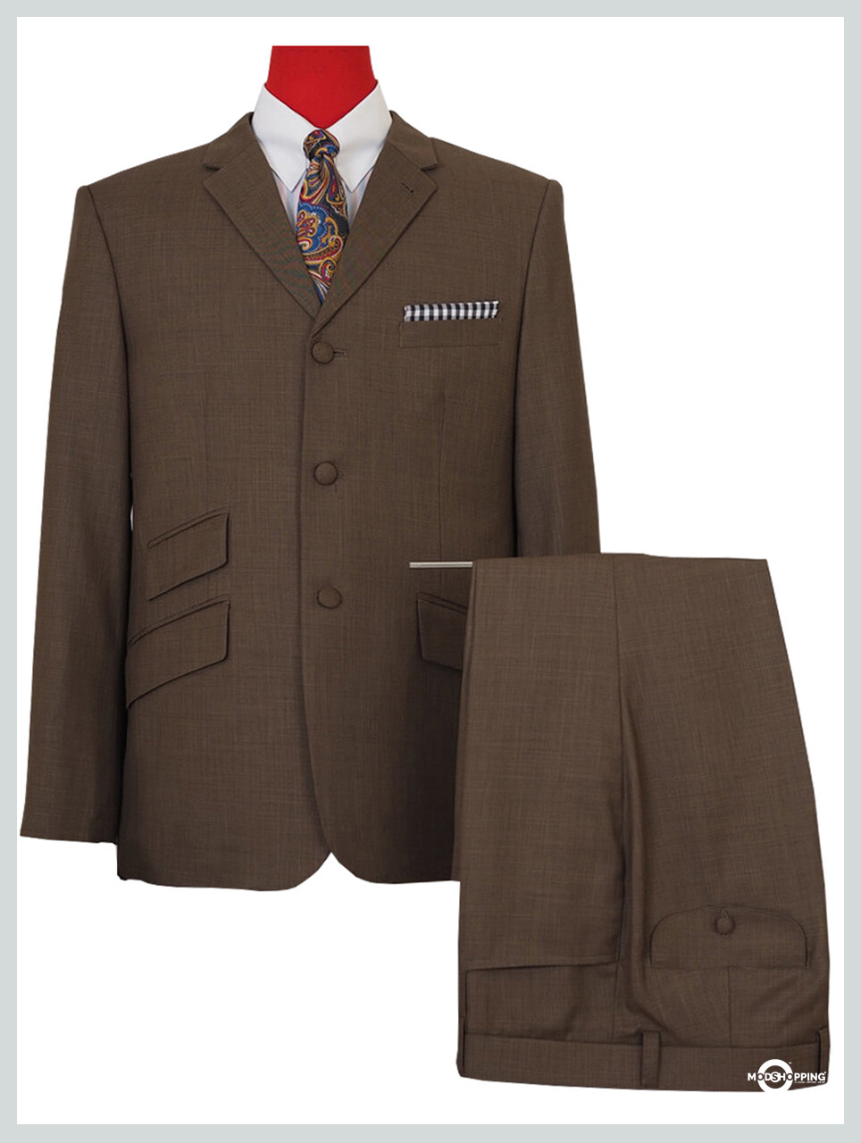mod suit | tailored 60s fashion 3 button brown suit
