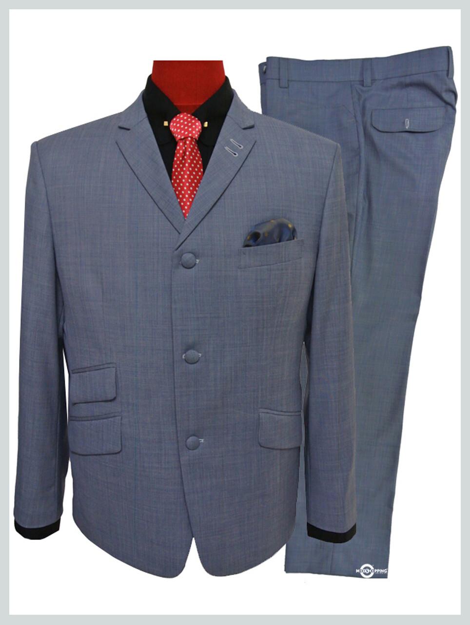 60s mod clothing steel blue slim fit 3 button suit