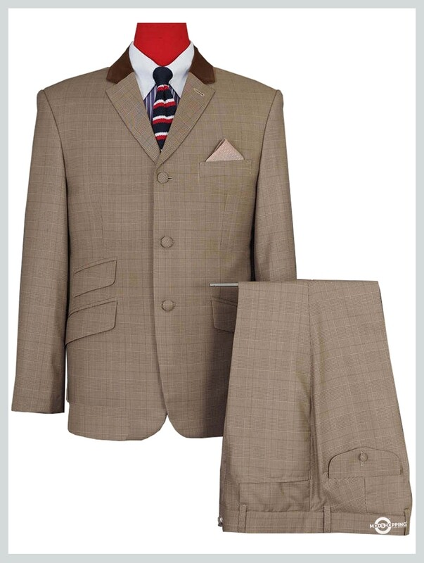 Brown Prince Of Wales Check 60s Style Mod Suit